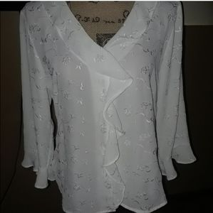 White Embroidered button down blouse